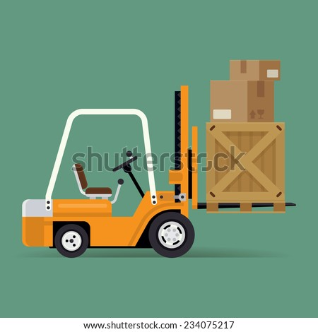 Vector modern creative flat icon on forklift loaded with wooden crate and cardboard boxes | Logistics and delivery forklift trendy icon - stock vector