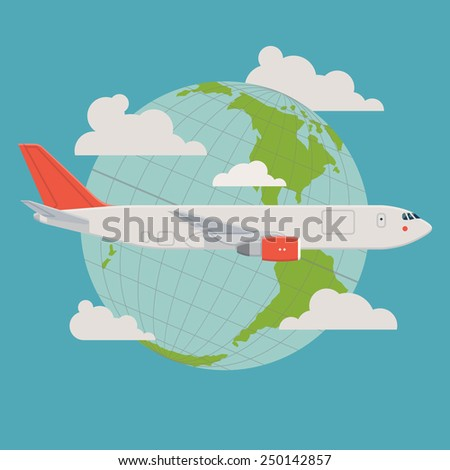 Vector modern delivery web icon on flying transport freight cargo jet airliner plane, flat design, side view, planet globe with clouds on background - stock vector