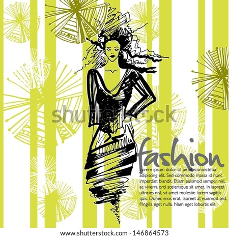 vector modern fashion background with elegant stylized fashion model  - stock vector