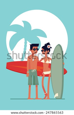Vector modern flat abstract poster wall art design on surfer exotic paradise with full length laughing surf boy and girl couple holding their surfboards on palm silhouette on sun background - stock vector