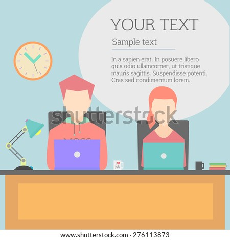 Vector modern flat character design of business people at work, office character for web sites applications business strategy marketing presentations  - stock vector