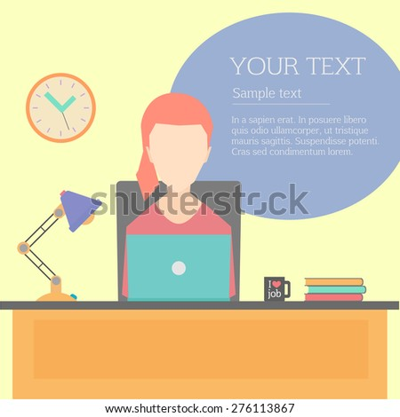 Vector modern flat character design of businesswoman at work, office character for web sites applications business strategy marketing presentations  - stock vector