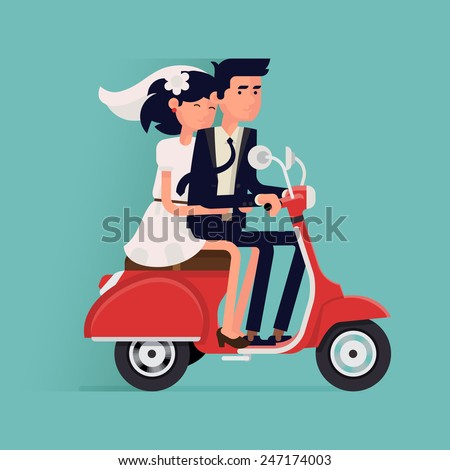 Vector modern flat character wedding design item bride and groom couple riding scooter together | Romantic happy just married couple traveling on moped - stock vector