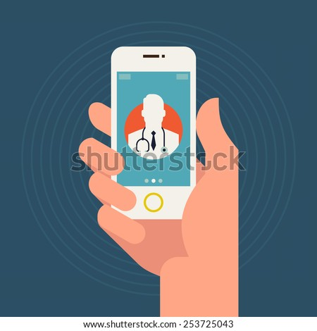 Vector modern flat concept web banner design on hand holding mobile phone with medical assistance and doctor consultation online featuring abstract physician icon - stock vector