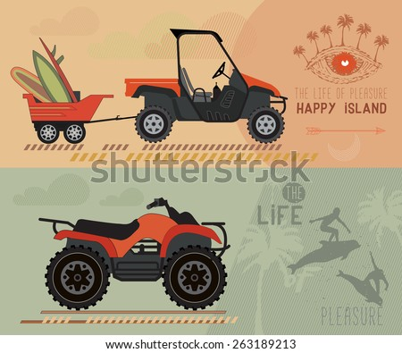 Vector modern flat design ATV.  Quad bike with trailer. Surfboards in the trailer. - stock vector