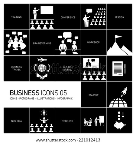 vector modern flat design business icons and illustrations set of training, businessman on conference or workshops white pictograms and infographics isolated on black background - stock vector