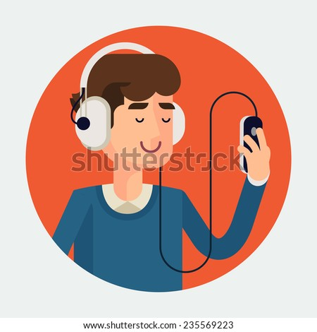 Vector modern flat design circle icon of casual clothed man wearing earphones listening music on his smart phone, red background | Cartoon character of music lover enjoying his favorite track - stock vector