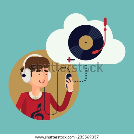 Vector modern flat design concept illustration of casual clothed man wearing earphones listening music on his smart phone using online cloud service | Finest music records available online - stock vector