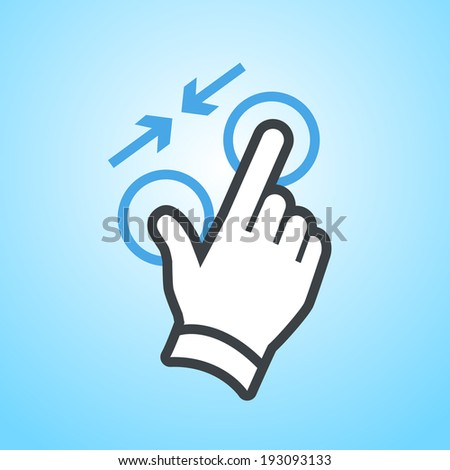 vector modern flat design hand pinch zoom out gesture icon isolated on blue background - stock vector