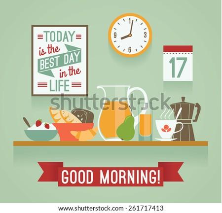 Vector modern flat design illustration of breakfast. Good morning mood. Design elements - stock vector