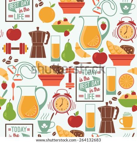 Vector modern flat design illustration of Good morning mood. Design elements - stock vector