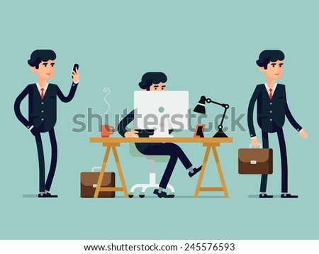 Vector modern flat design illustration on male business man in various poses | Businessman walking browsing his mobile device, working on desktop computer, standing full length with case in hand - stock vector