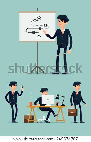 Vector modern flat design illustration on male business man in various poses featuring working on computer, standing with briefcase, walking with mobile phone, giving presentation - stock vector