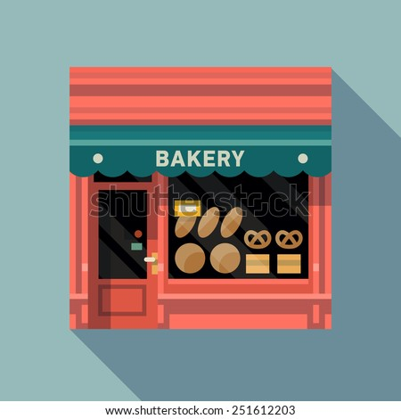 Vector modern flat design square architecture web icon on retro style local bakery shop store pink facade with awning and bread products exposed in window - stock vector