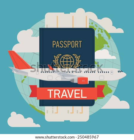 Vector modern flat design web icon on airline tickets and travel with jet airliner flying, passport, boarding pass ticket and globe with clouds | Airfare booking square printable - stock vector