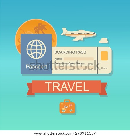 Vector modern flat design web icon on airline tickets and travel with jet airliner flying, passport, boarding pass ticket  and travelling bag - stock vector