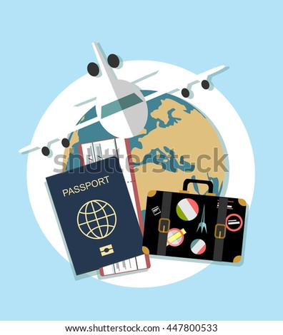 Vector modern flat design web icon on airline tickets and travel with jet airliner flying, passport, boarding pass ticket and globe with clouds  - stock vector