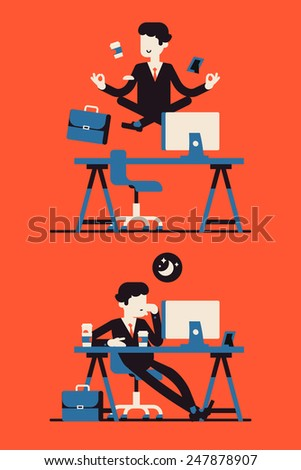 Vector modern flat four colored business character design on abstract office worker web icon in sleeping mode and calm concentration mode | Businessman levitating over work desk in lotus position - stock vector