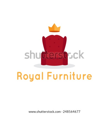 Vector modern flat furniture shop logo template. Red armchair with crown. - stock vector