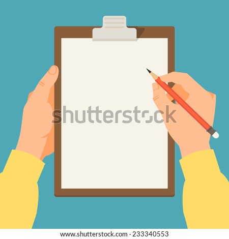 Vector modern flat illustration on hands holding clipboard with empty sheet of paper and pencil | Clipboard with blank paper and pencil in the hands of a man - stock vector