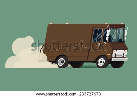 Vector modern flat illustration on riding delivery service van | Brown shipping service truck running fast leaving clouds of dust behind - stock vector