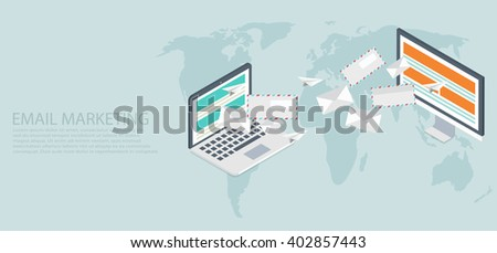 vector modern flat isometric email marketing background - stock vector