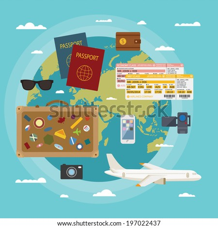Vector modern flat style concept for tourism industry, traveling on airplane, planning summer vacations. - stock vector