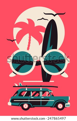 Vector modern flat wall art poster design on hot summer vacation, beach recreation, water activities, surfing with woodie wagon retro surf car, palm on sun, surfboard with lightning bolt design - stock vector