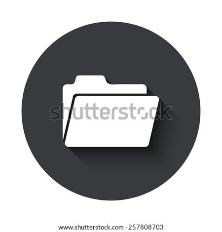 Vector modern folder gray circle icon on white background - stock vector