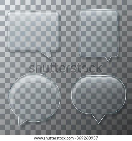 Vector modern glass bubble speech set on sample background. Eps10 - stock vector