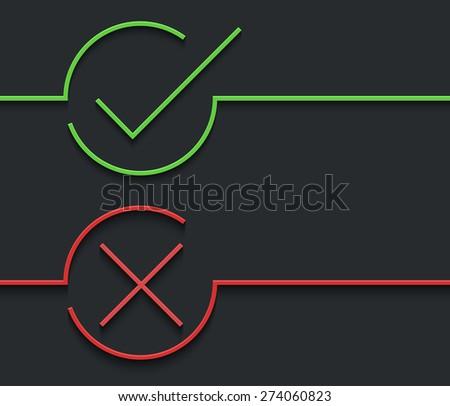 Vector modern green check mark on black background - stock vector
