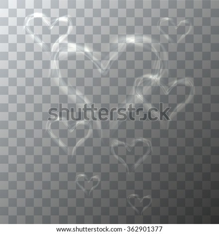 Vector modern heart from smoke on sample background. Eps10 - stock vector