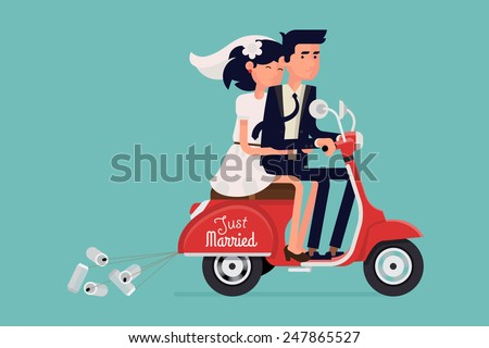 Vector modern icon on hipster young bride and groom couple characters happily riding fast red retro scooter with cans tied, isolated | Just married abstract wedding illustration on honeymoon  - stock vector