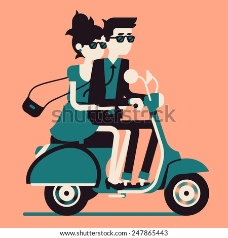 Vector modern icon on hipster young man and woman couple characters riding fast retro scooter wearing sun glasses, isolated | Urban modern lifestyle abstract illustration of dynamic young people - stock vector