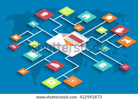 vector modern isometric email marketing background. eps10 - stock vector