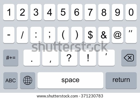 vector modern keyboard of smartphone, numerals buttons - stock vector