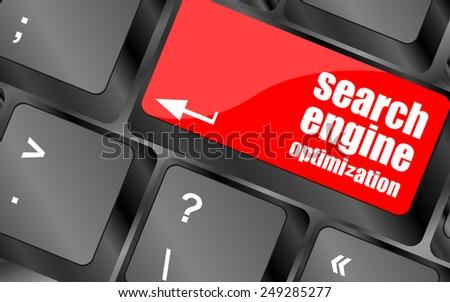 vector Modern keyboard with SEO text. SEO concept - stock vector