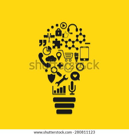 Vector modern lightbulb of the icons. Business, education, technology background - stock vector