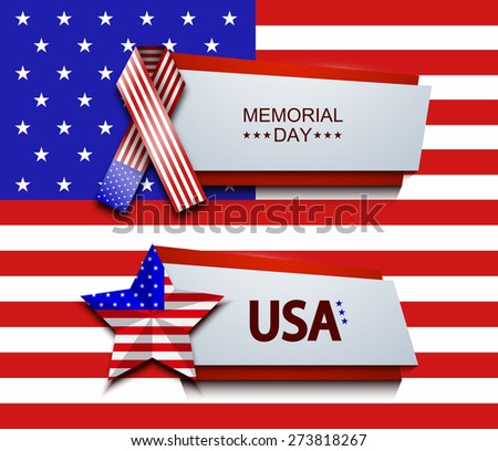 Vector modern memorial day banners on usa flag background - stock vector