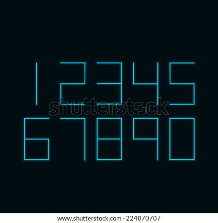 Vector modern neon numbers on black background. Eps10 - stock vector