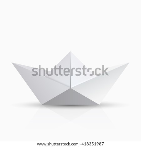 vector modern origami boat with shadow on transparent background - stock vector