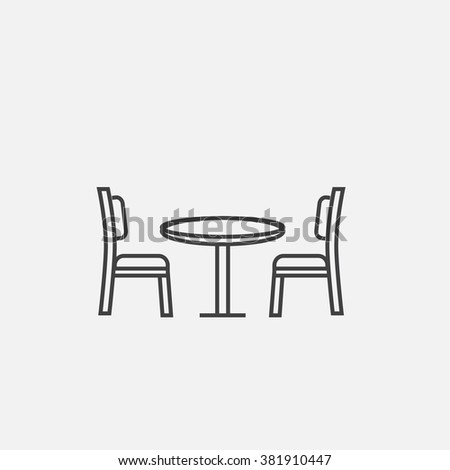 Vector modern outline icon of table with chairs. Table with chairs outline vector icon. Furniture for living room outline icon. Living room table with chairs icon. - stock vector