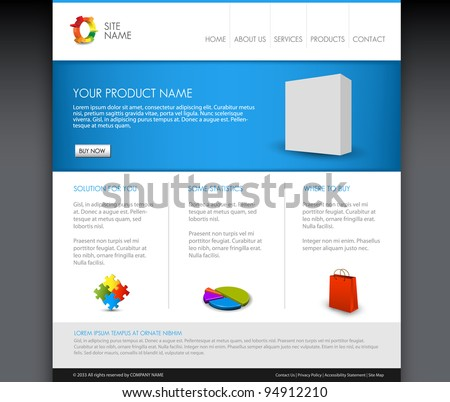 Vector Modern product homepage  template - Blue version - stock vector