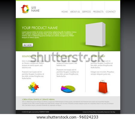 Vector Modern product homepage  template - Green version - stock vector