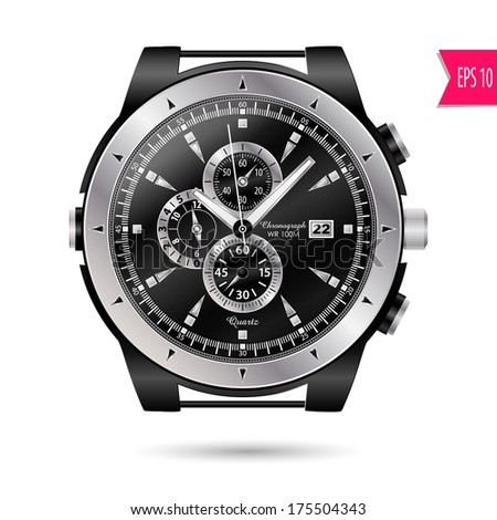 vector modern realistic luxury, wrist watch isolated on a white background - stock vector