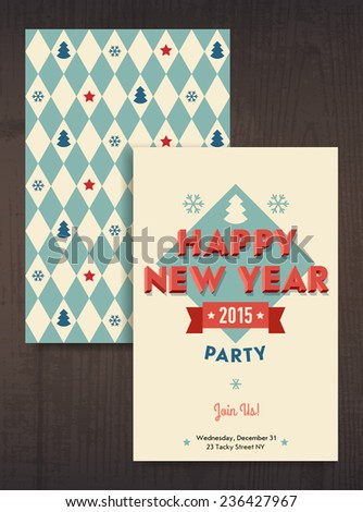 Vector modern retro design on happy new year party invitation featuring vintage looking 3d letters and simple flat design pattern - stock vector