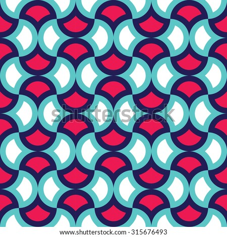 Vector modern seamless colorful geometry pattern leaves bright  , color  blue red abstract geometric background,wallpaper print,  retro texture, hipster fashion design - stock vector