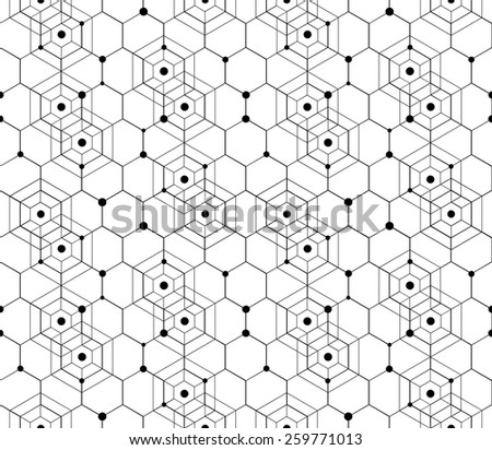 Vector Modern Seamless Pattern. Black Techno Texture. Geometric Pattern Background. Hexagons, Triangles and Circles in Nodes. Abstract Ornament for Business Design. - stock vector