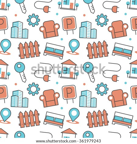 Vector modern seamless pattern texture background of flat real estate icons. Thin line illustration design for wallpapers, print,, packaging, magazines and backdrops on websites - stock vector
