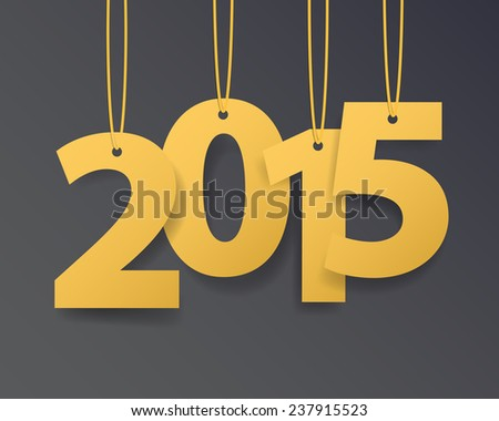 Vector Modern simple Happy new year 2015 card with shadow effect .Vector/illustration. - stock vector